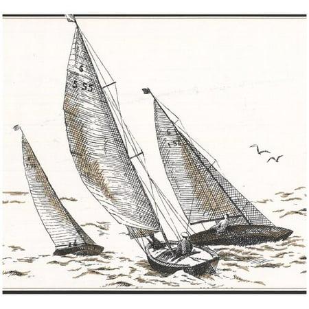 York Wallcoverings Sail Boats in Sea Sketch Nautical Wall Border