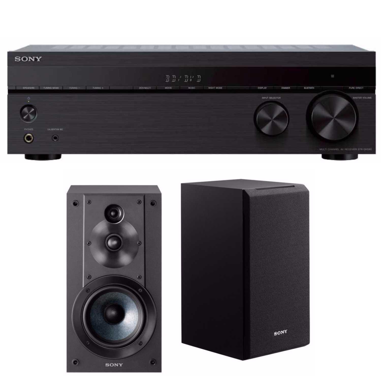 Sony STRDH590 5.2ch Home Theater AV Receiver with Sony Bookshelf Speaker Bundle