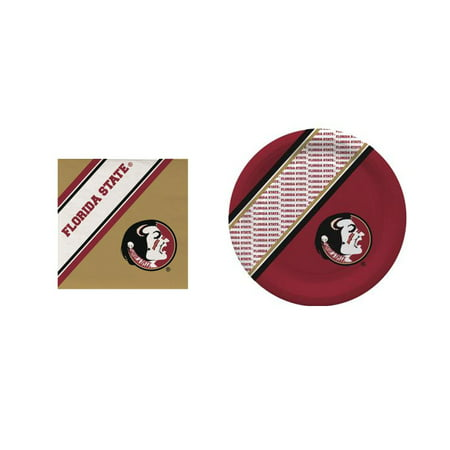 GameDay Essential Florida State Seminoles 20 Pc Disposable Paper Plates And 20 Pc Disposable Napkins