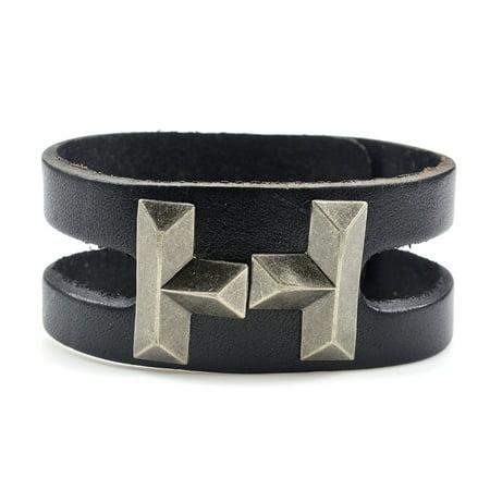 Fashion Jewelry Men Women Tribal black leather wrap cuff bracelet (Women Leather Wrap Bracelet)