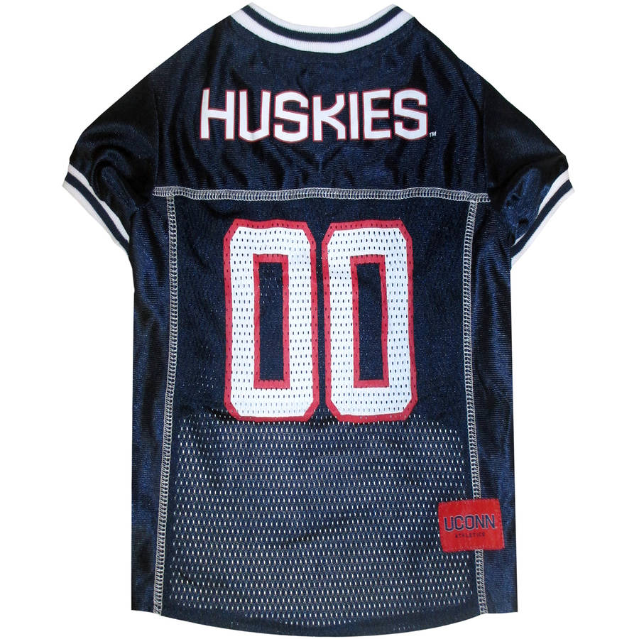 Pets First College UConn Huskies Collegiate Dog Jersey, Available in Various Sizes