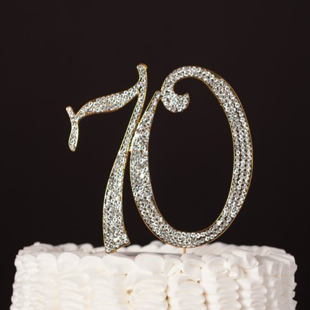 70 Cake Topper for 70th Birthday or Anniversary Party Gold Crystal Rhinestone Decoration (Gold) - Happy 70th Birthday Decorations