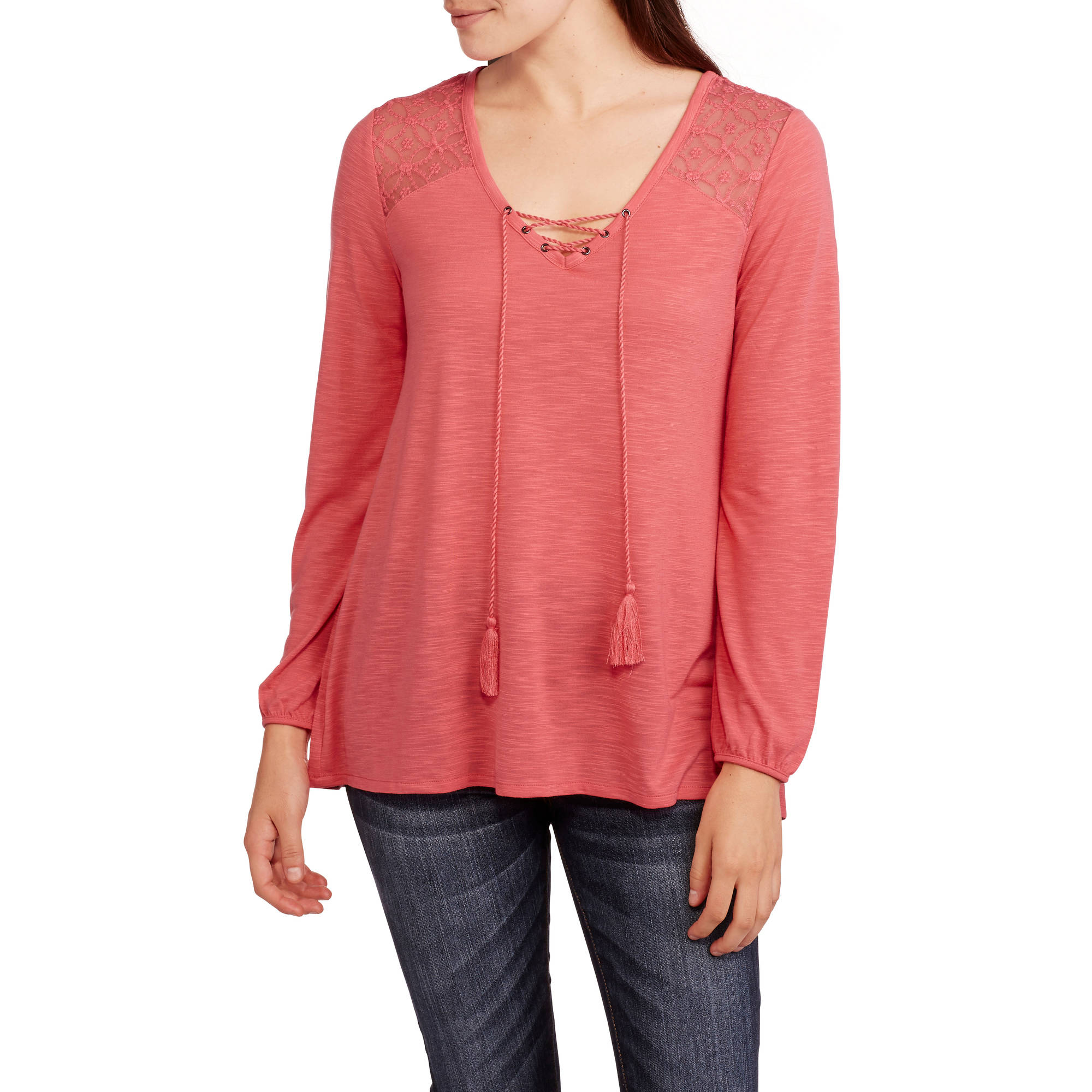 Faded Glory Women's Long Sleeve Lace Up Peasant Top with Front Tassels