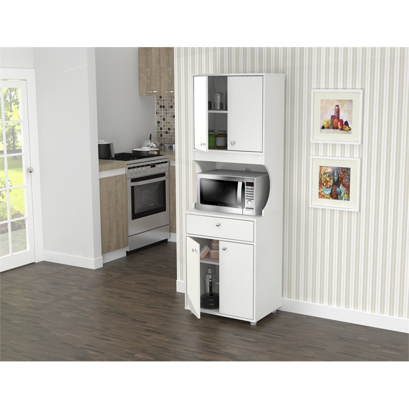 Inval Galley Laminate Kitchen Microwave Cabinet Open Storage White Walmart Com Walmart Com