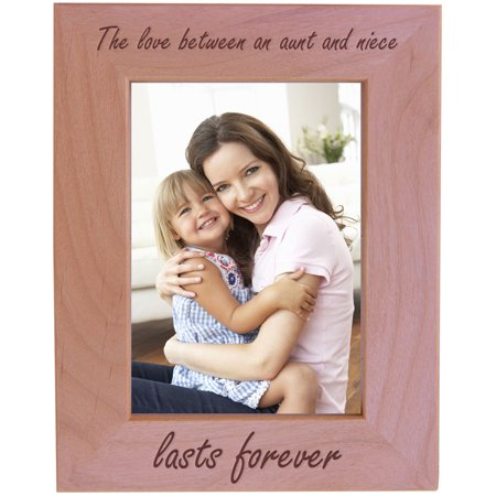 CustomGiftsNow The love between an aunt and niece lasts forever - Wood Picture Frame - Fits 5x7 Inch Picture (Best Enesco Aunt Picture Frames)