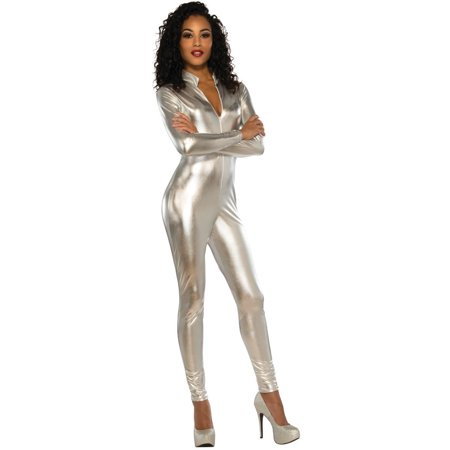 Women's Silver Secret Agent Slinky Metallic Stretch Jumpsuit (Women's Fbi Agent Costume)