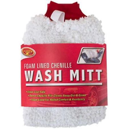 Deluxe Chenille Wash Mitt With Inner Lining Pad 4PK