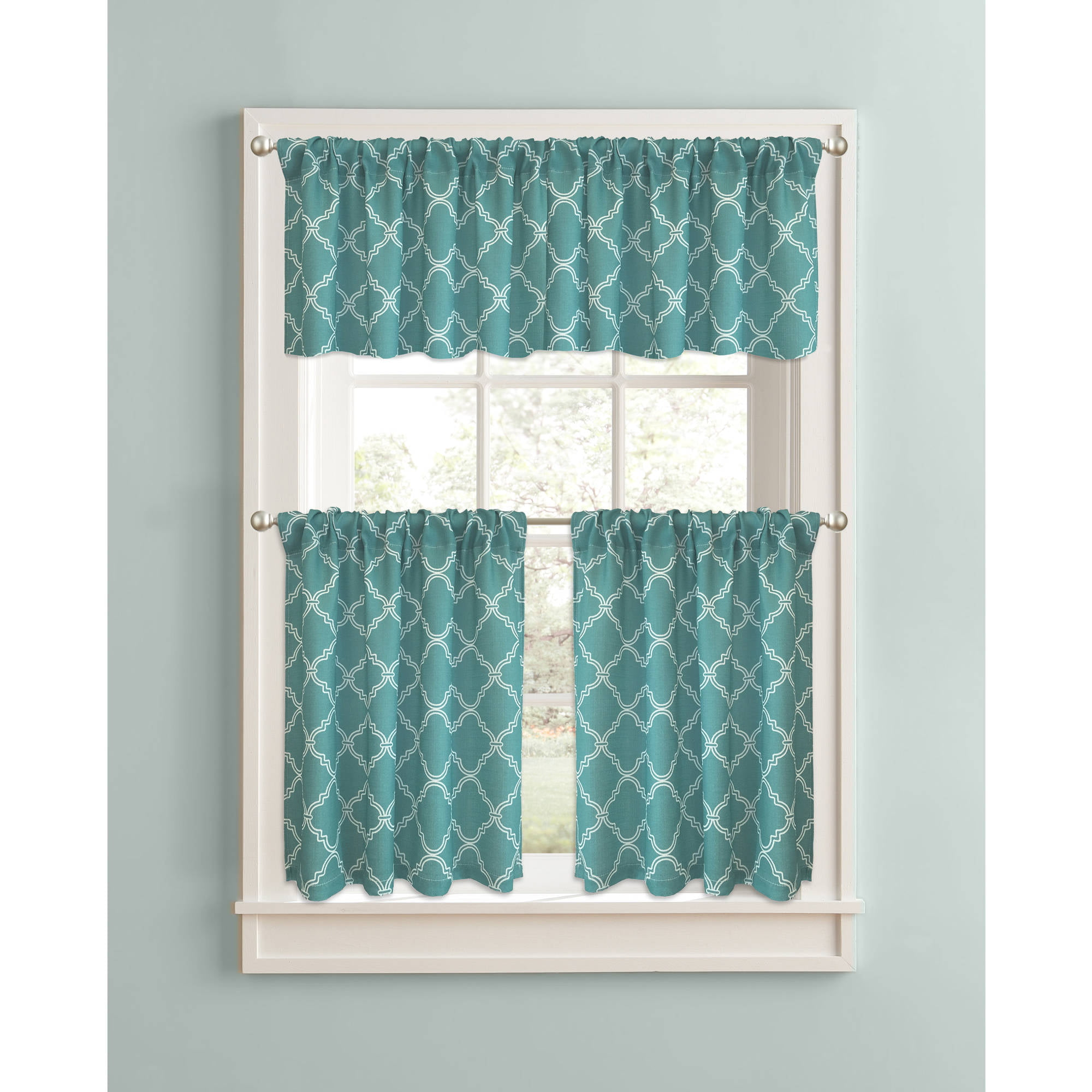 Better Homes And Gardens Trellis Kitchen Curtains, Set Of 2   Walmart.com