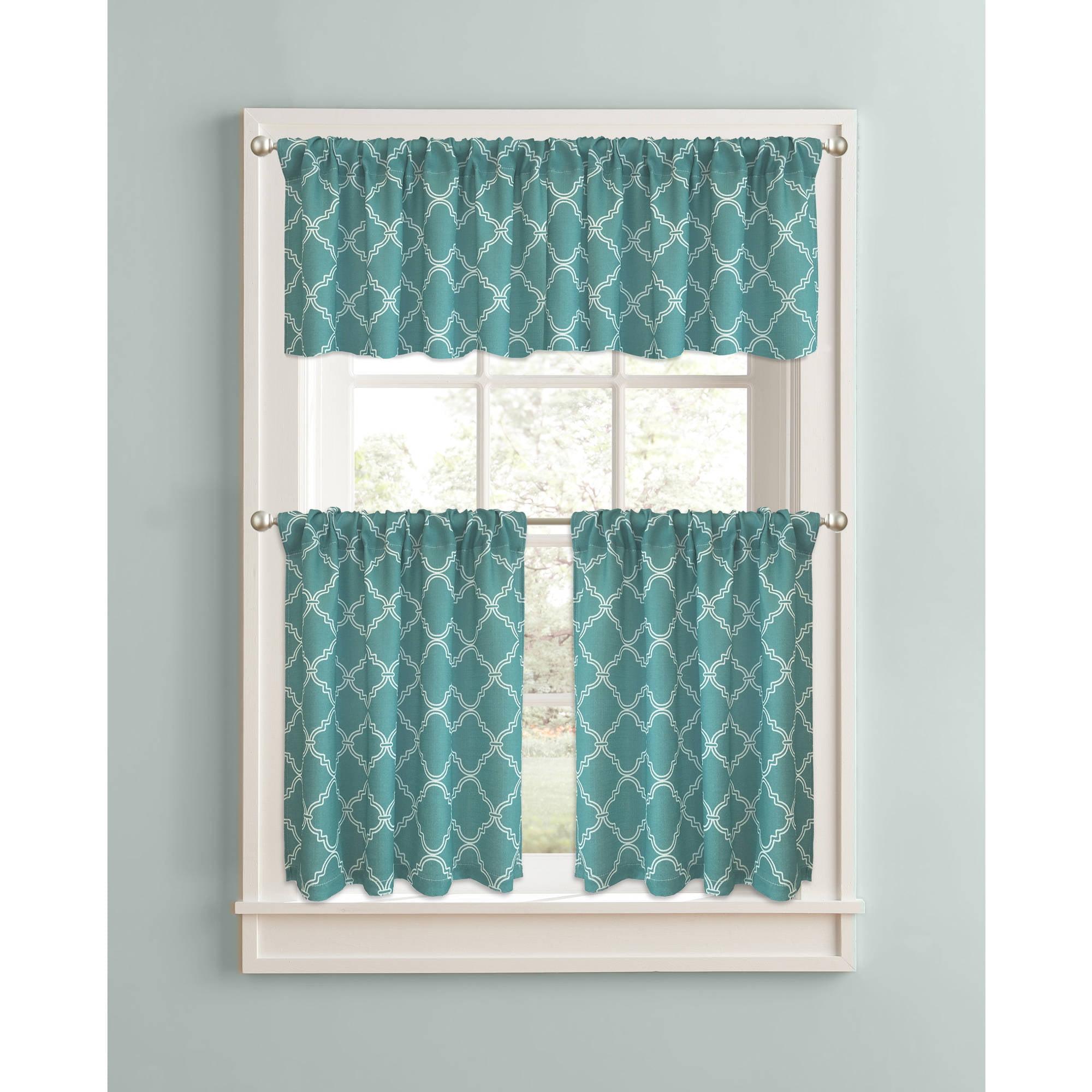 Better Homes & Gardens Trellis Kitchen Curtains, Set of 2 ...