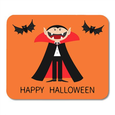 Halloween Vampire Cartoons (SIDONKU Happy Halloween Count Dracula Wearing Black and Red Cape Cute Cartoon Vampire Character Big Open Mouth Mousepad Mouse Pad Mouse Mat 9x10)