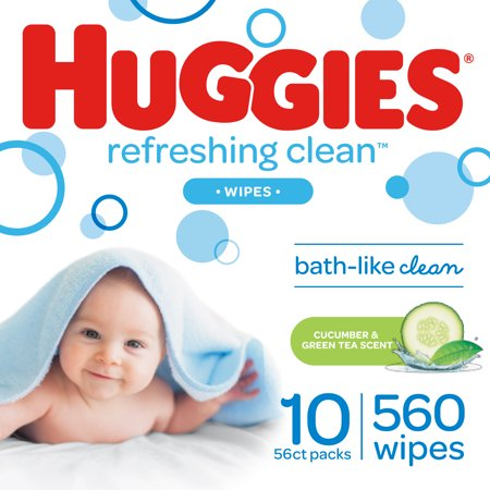 Huggies Refreshing Clean Baby Wipes, Cucumber Scent, 560 Count