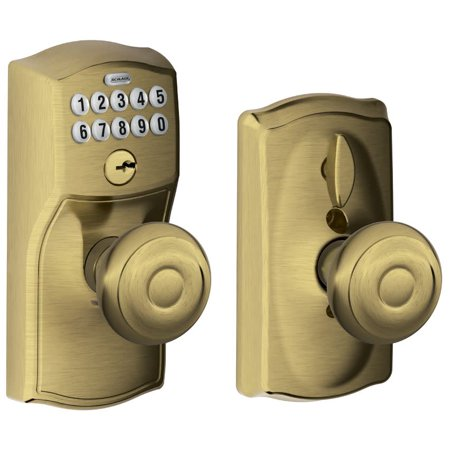7d716d1b3e6 Schlage FE595-CAM-GEO Camelot Keypad Entry with Flex-Lock Door Knob Set  with Georgian Interior Knob - Walmart.com