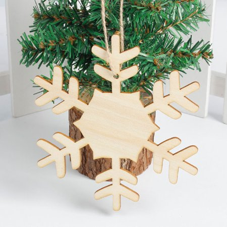 Snowflake Wood Embellishments Rustic Christmas Tree Hanging Ornament Decor