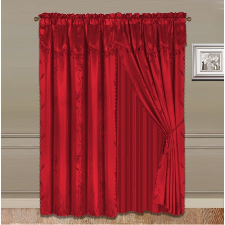 """NADA RED COMPLETE WINDOW CURTAIN SET 2 panels faux silk  LEAF FLORAL 2 PANEL solid SHEER 2 attached VALANCE 2 TASSEL THICK HEAVY WINDOW CURTAIN drape 63"""" LENGTH"""