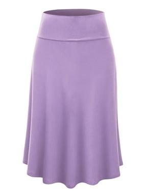 Lightweight Fold Over Flared Midi Skirt