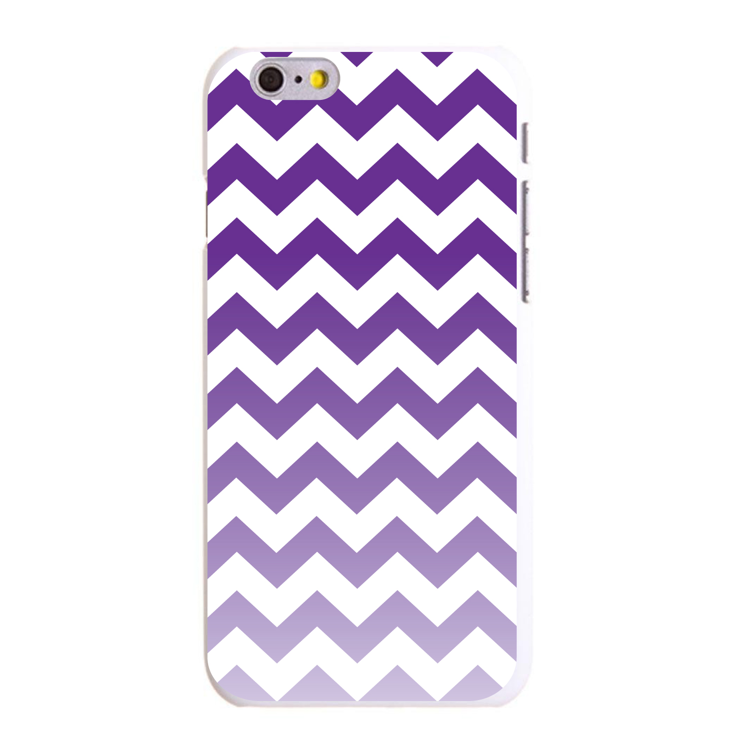 "CUSTOM White Hard Plastic Snap-On Case for Apple iPhone 6 / 6S (4.7"" Screen) - White Purple Fade Chevron Stripes"