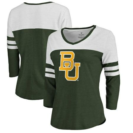 Baylor Bears Fanatics Branded Women's Primary Logo Color Block 3/4 Sleeve Tri-Blend T-Shirt - Green