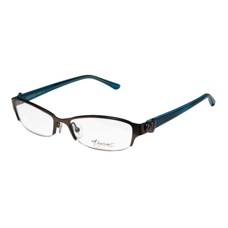521100a5e2e New Thalia Corazonada Womens Ladies Designer Half-Rim Brown   Teal Special  With Rhinestones Frame Demo Lenses 51-16-130 Crystals Eyeglasses Glasses ...