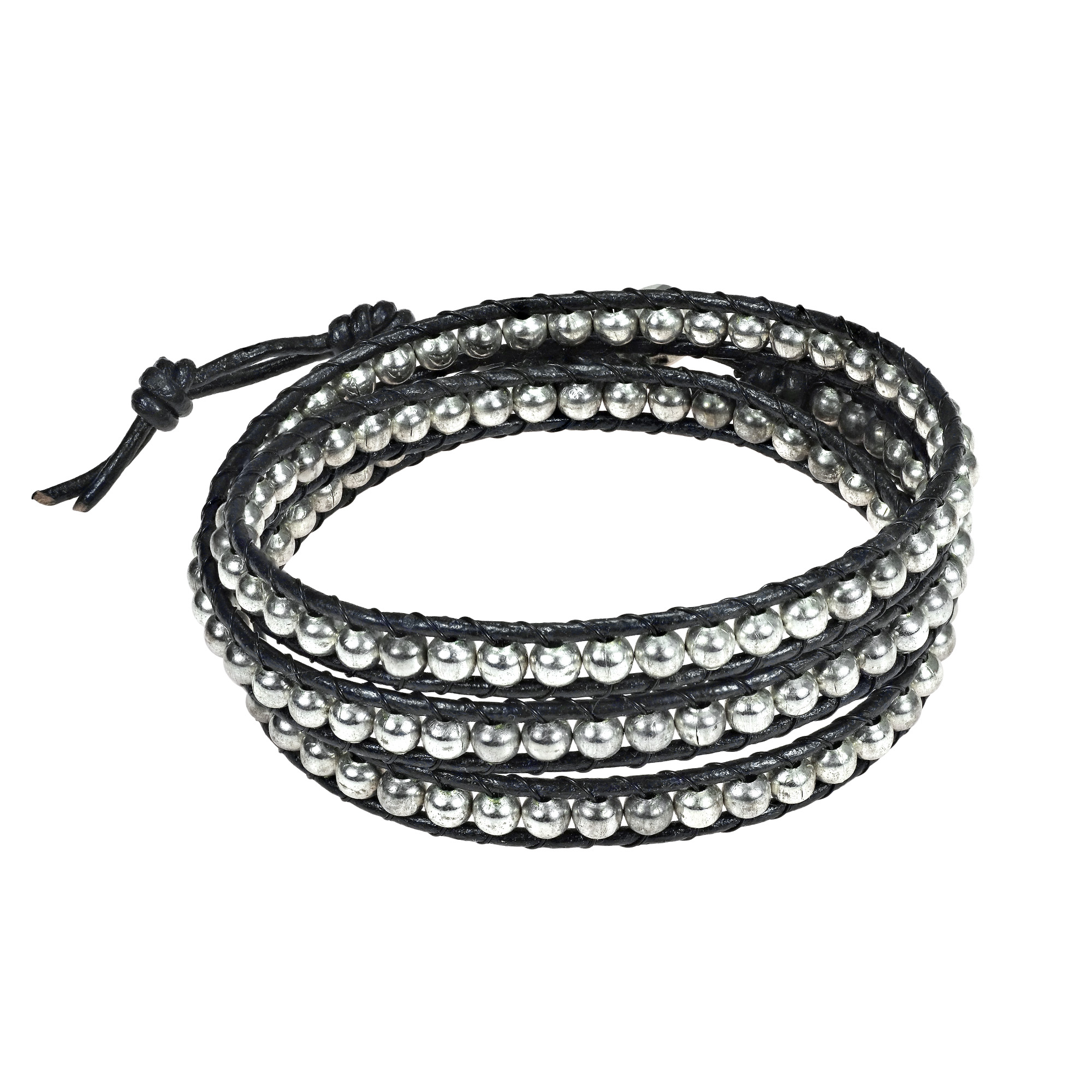 Sublime Metallic Round Fashion Silver Beads Triple Black Leather Wrap Bracelet