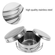 Fyydes Cookware Set,4Pcs Portable Stainless Steel Cookware Set Camping Picnic Outdoor Pan Pot Plate Tableware, Camping Cookware Set