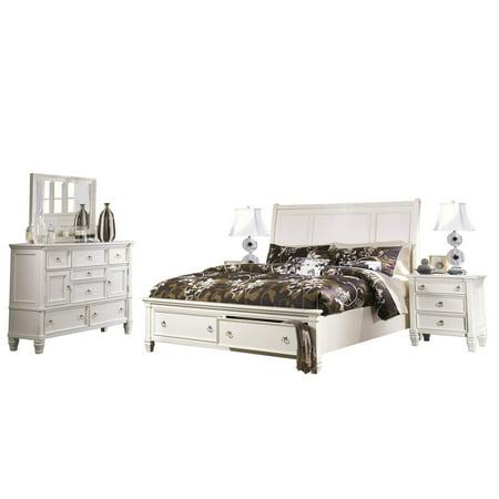 Ashley Furniture Prentice 5 Pc Bedroom Set Queen Sleigh Bed Dresser Mirror 2 Nightstand White