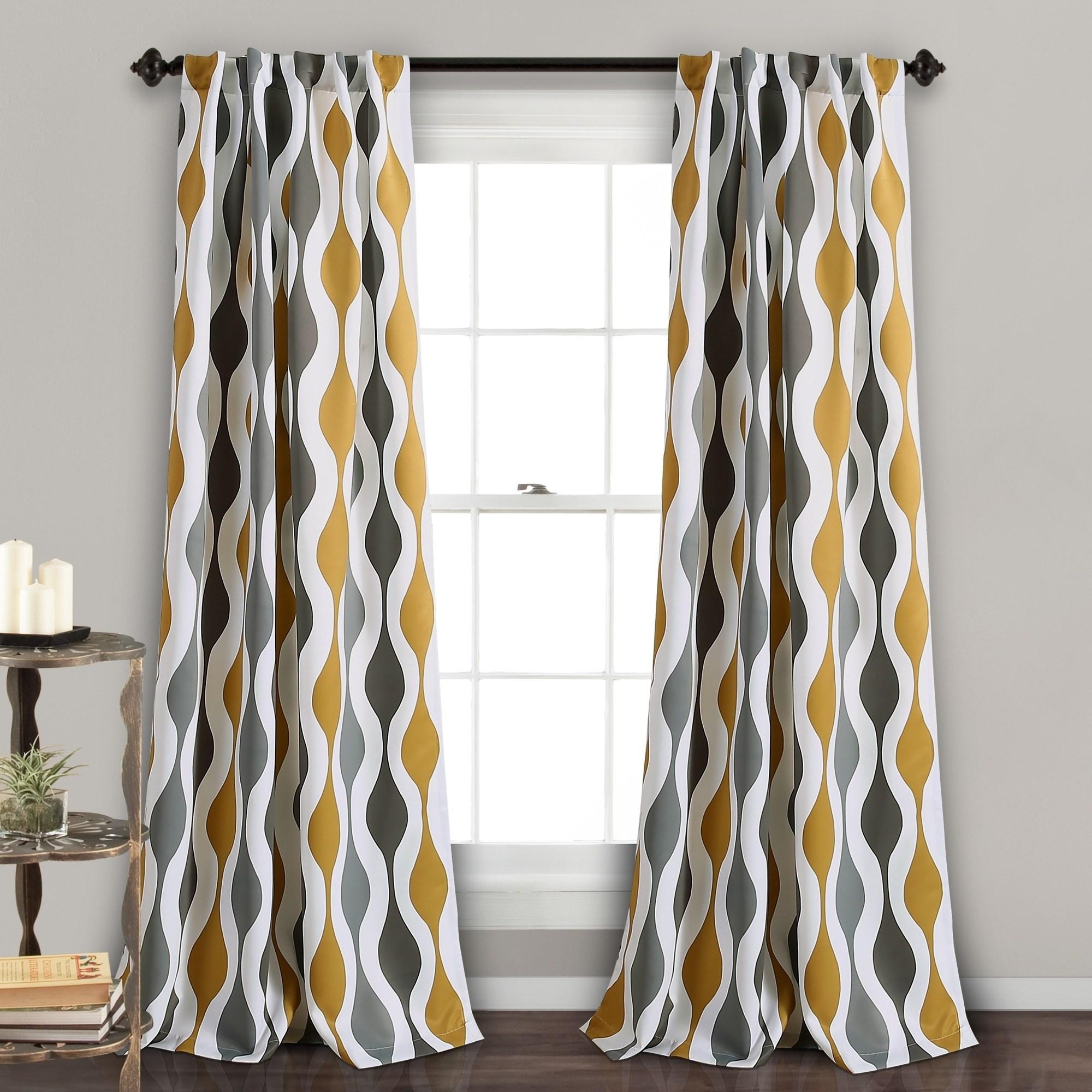 Mid Century Geo Room Darkening Window Curtain Panels Gold/Gray Set 52X84