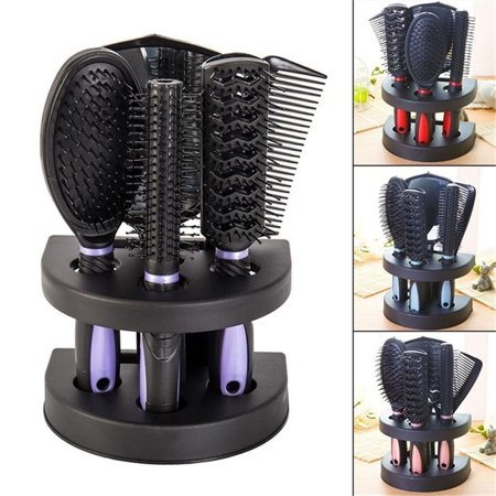 5 Piece Hair Brushes Comb Set Mirror Comb Ladies Hair Care Massage Hairbrush Set with Mirror and Holder Stand Professional Hair Care Brush - Message Stand