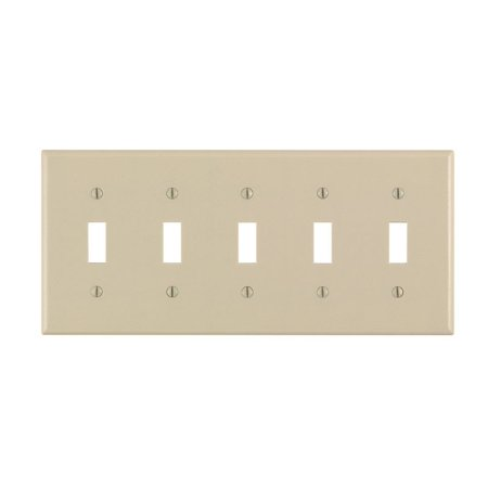 Leviton Toggle Wall Plate 5 Gang Std Size Ivory Csa (Gang Wall Plates Leviton Toggle)