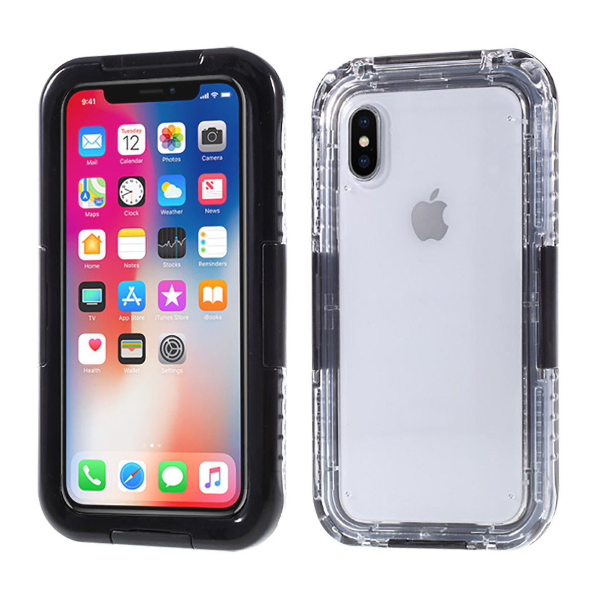 iPhone X Case, Mignova Full Sealed Waterproof Dust proof Shockproof Full Body Underwater Cover Case for Apple iPhone X (Black)