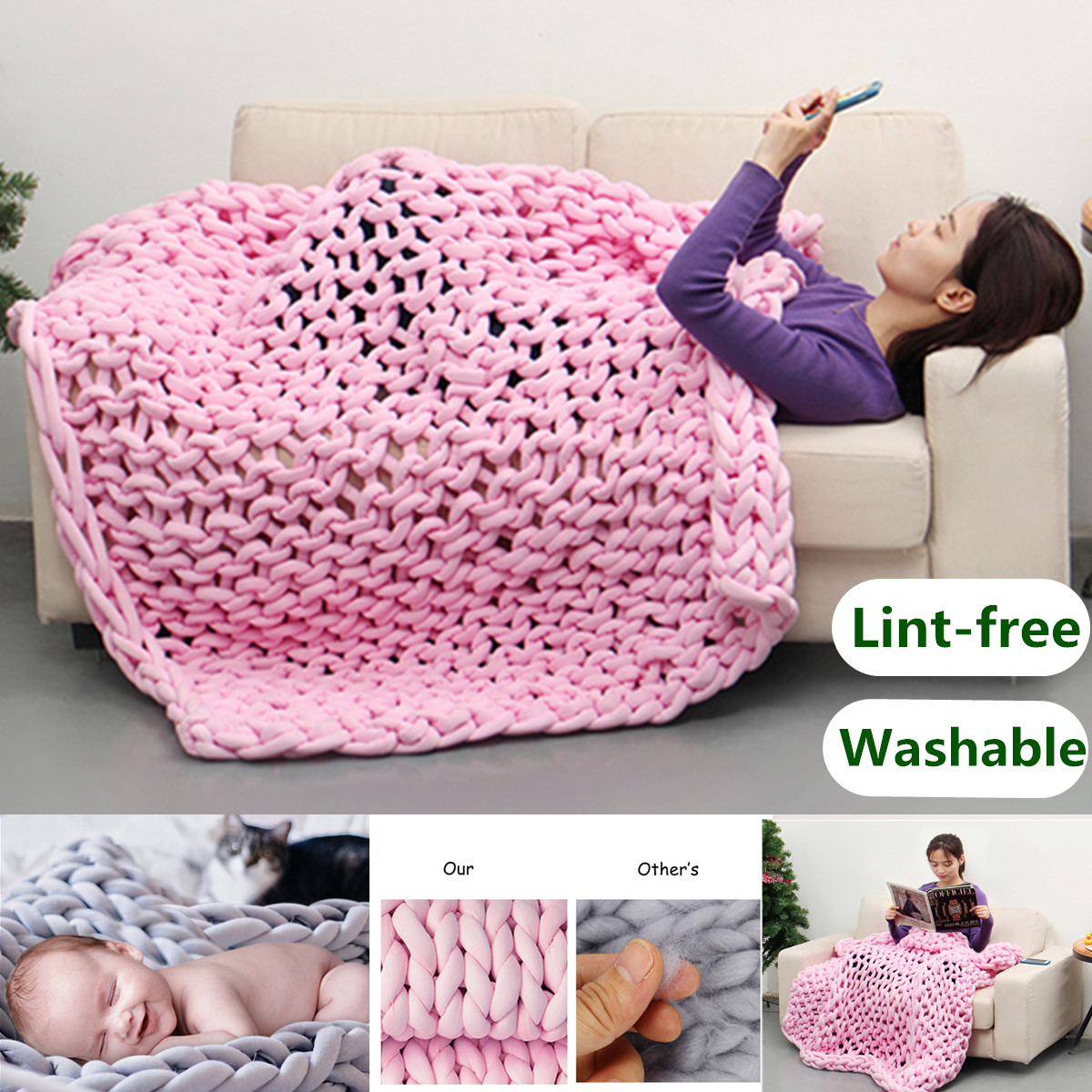 Hand-woven Cotton Soft Chunky Knitted Blanket Bulky Thick Yarn Bed Sofa Throw Rug - Machine Washable & Lint-free