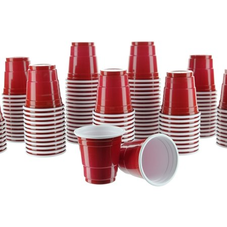 Mini Beer Stein Shot Glass (Party Bargains Mini Red Disposable Shot Glasses | Plastic Shot Cups, Jello Shots, Jager Bomb, Beer Pong, Perfect Size for Serving Condiments, Snacks, Samples and Tastings - 2oz | Pack)