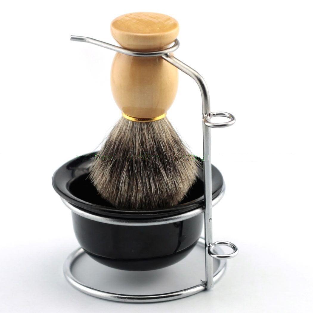 Estink Men's Shaving Brushes Set with Stainless Steel Shaving Brush Razor Stand Holder Shaving Bowl Mug Set and Faux Badger Hair Shaving Brush