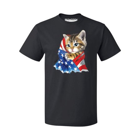 - P&B Cute Kitten With USA Flag 4th of July Men's T-shirt, M, Black