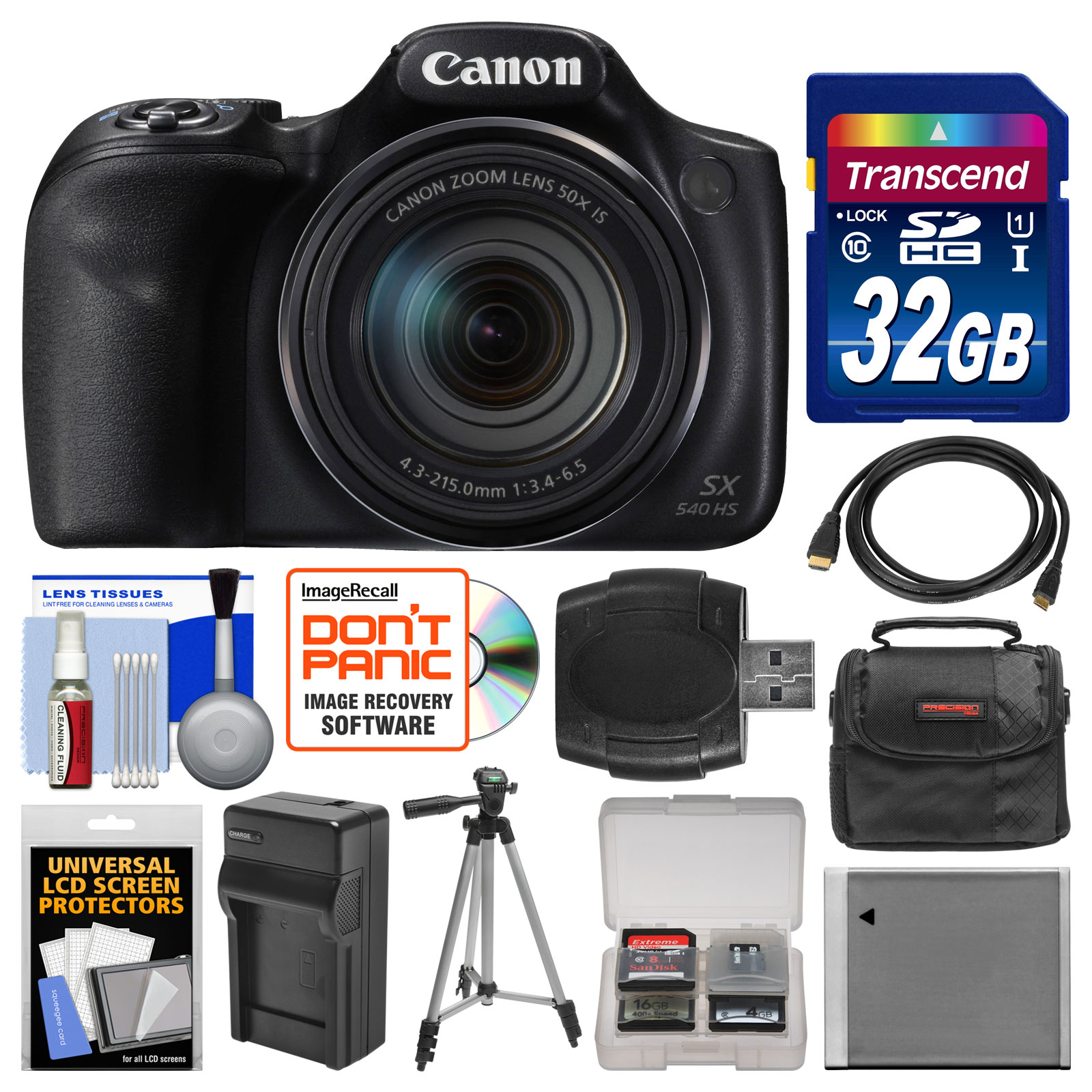 Canon PowerShot SX540 HS Wi-Fi Digital Camera with 32GB Card + Case + Battery & Charger + Tripod + Kit