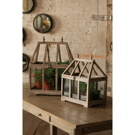 2 Pc Wood Frame and Glass Side Tall Terrarium Set - Plants or Collectible Display