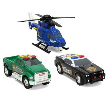 Pickup Trike - Funrise Toys - Tonka Mini 3 Pack, Police Helicopter, Pickup Fish & Game, Sheriff Cruiser