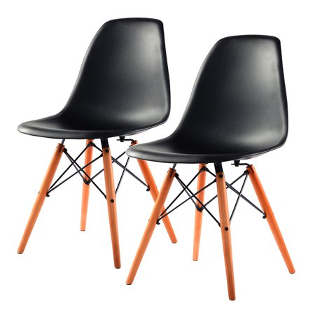 Costway 2Pcs Mid Century Modern Style Dsw Dining Side Chair Wood Legs