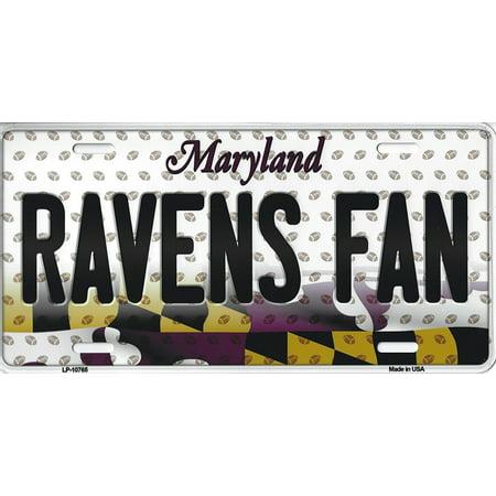 Ravens Maryland State Background Novelty Metal License Plate Tag (Ravens Fan) ()