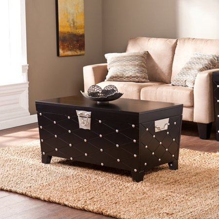 Longwood Nailhead Cocktail Table Trunk, Black/Satin -