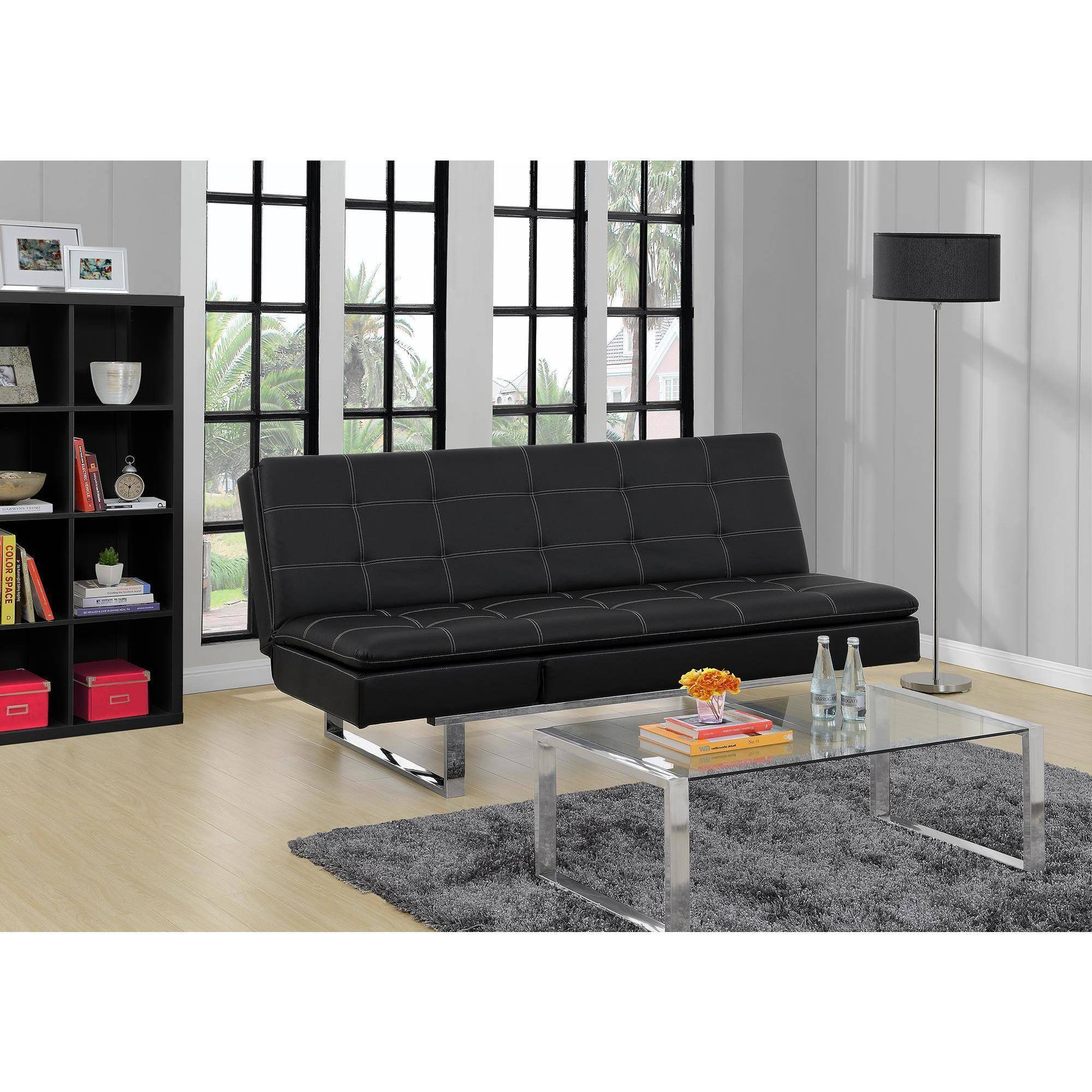 Dorel Home  Premium Lux Bonded Leather Pillowtop Futon Lounger, Black