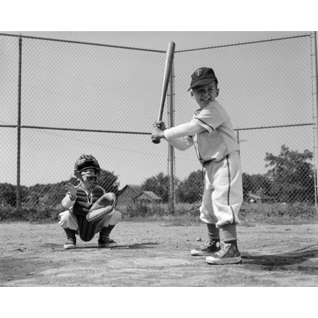 1960s Two Boys Playing Baseball Batter And Catcher At Home Plate Rolled Canvas Art - Vintage Images - 1960s Boys
