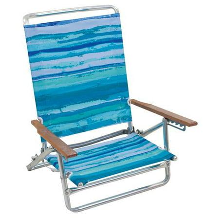 Mainstays Five Position Beach Chair Blue Stripe Walmart Com