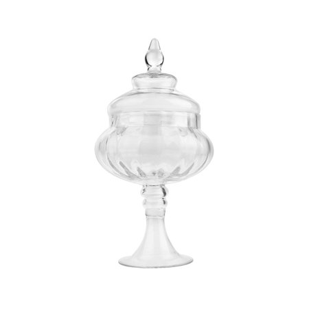 Clear Glass Ribbed Pedestal Apothecary Candy Jar, 13-Inch
