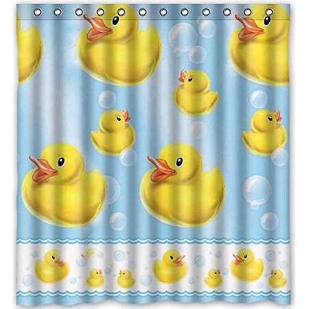 HelloDecor Yellow Rubber Duck Image For Shower Curtain Polyester Fabric Bathroom Decorative Curtain Size 66x72 - Shower Duck