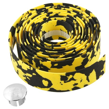Yellow Black 195cm Bicycles Handlebar Tape Wrap w Bar Connector - image 1 of 1
