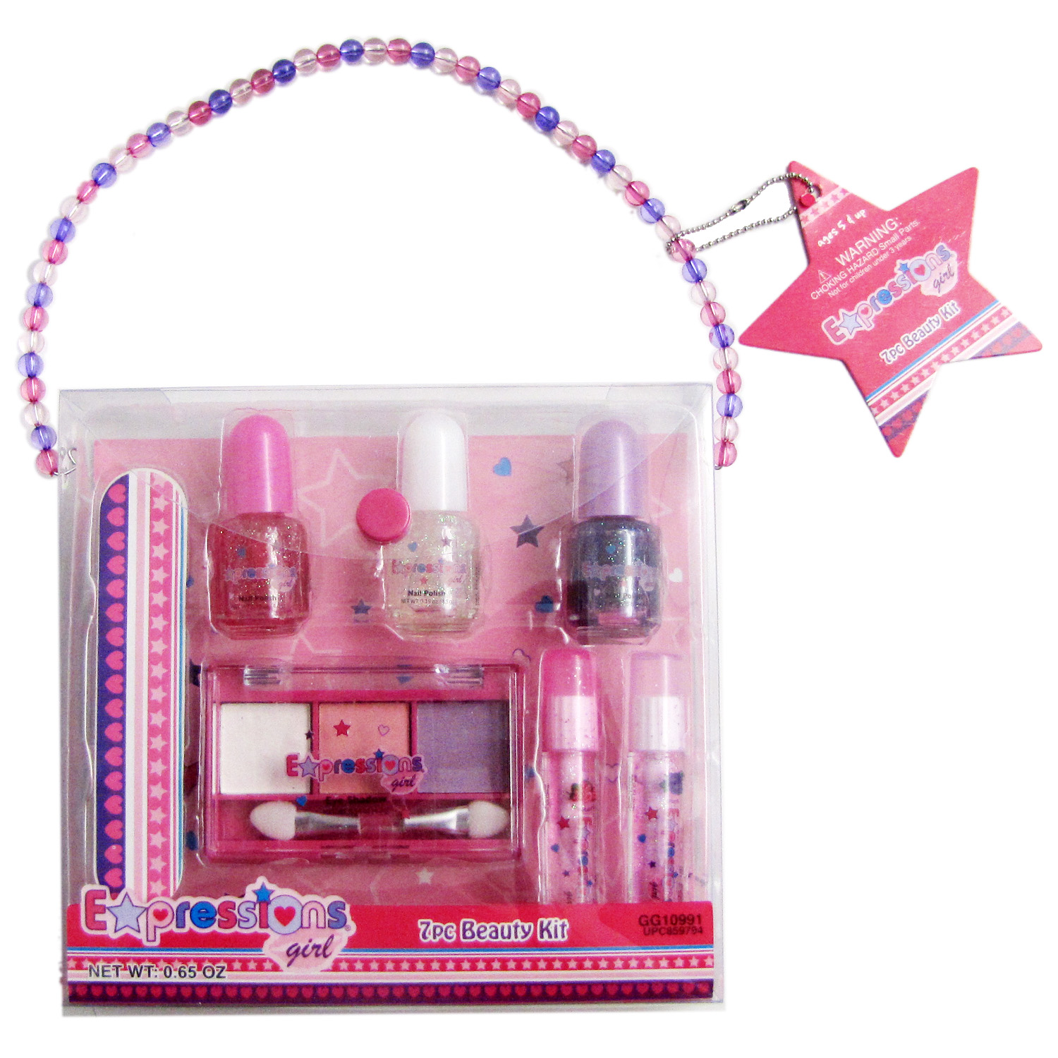 Expressions Girl Mini 7-Piece Beauty Set - Eye Shadow, Lip Gloss, Nail Polish & Nail File