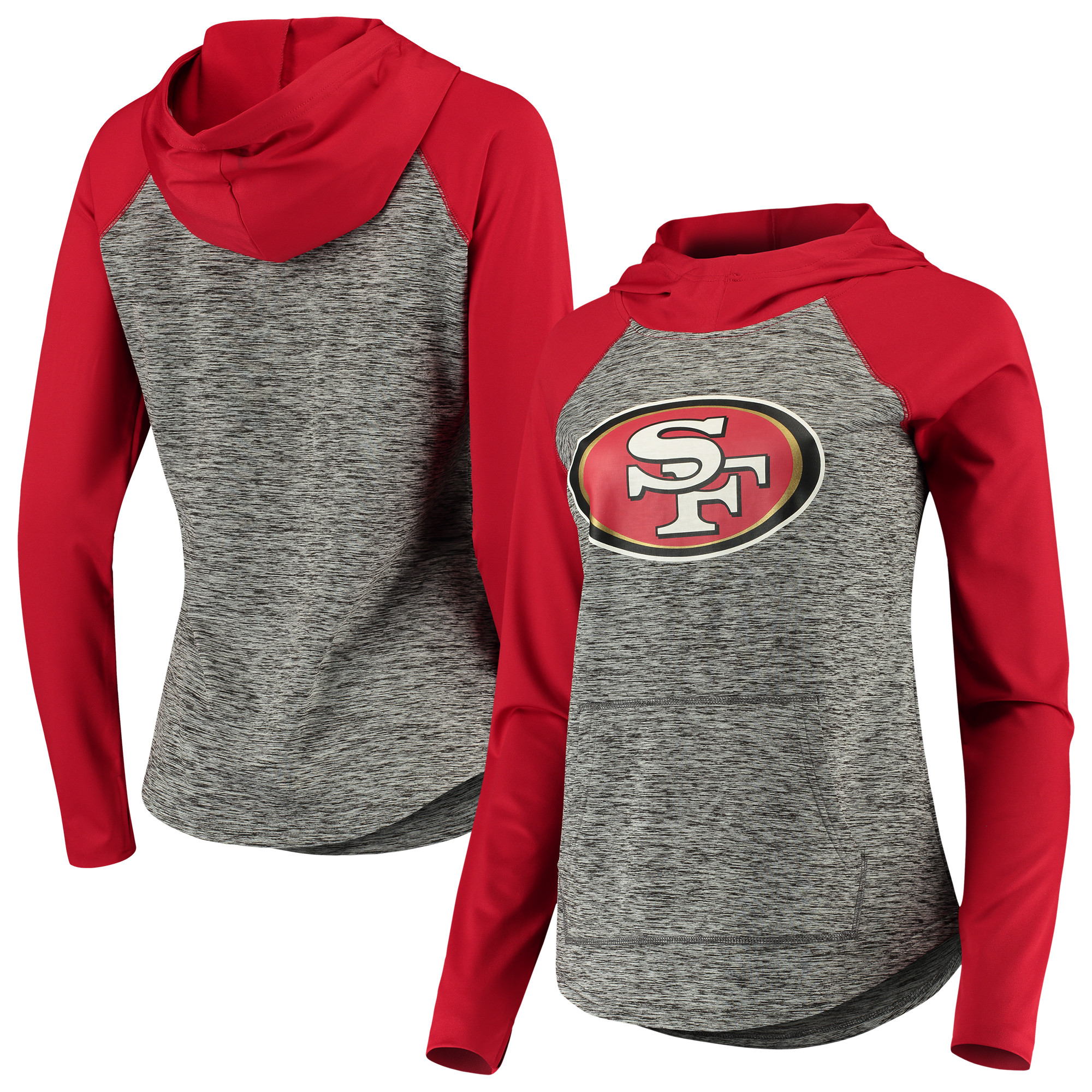 San Francisco 49ers G-III 4Her by Carl Banks Women's Championship Ring Pullover Hoodie - Heathered Gray/Scarlet