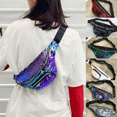Women Travel Waist Fanny Pack Money Belt Wallet Glitter Multicolor Bum Bag US ()