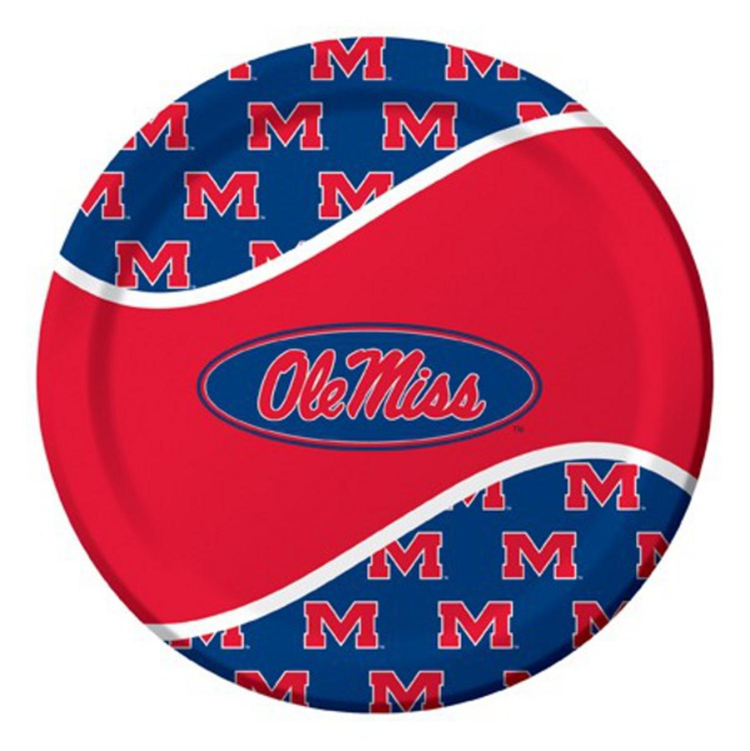 Pack of 96 NCAA Ole Miss Rebels Round Tailgate Party Paper Dinner Plates 8.75""