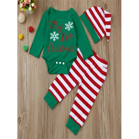 f4551dba492 Newborn Infant Baby Boy Girl Romper Tops+Striped Pants+Hat Christmas Outfits  Set - Walmart.com
